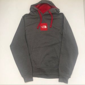 The North Face Red Gray Hoodie Pullover